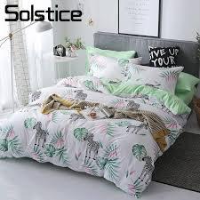 solstice home textile twin full duvet cover pillowcase flat sheet green zebra white bedding set kid teen girl bed linens 180 220 gray and white duvet cover
