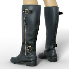 boot tall black leather women clothing footwear low poly 3d model