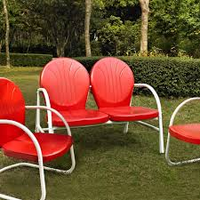 crosley griffith 3 piece metal outdoor conversation loveseat 2 chairs set red