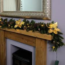 1 8m outdoor battery pre lit garland with gold poinsettias