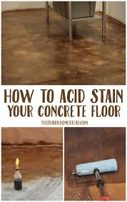 acid stain concrete floor diy stained
