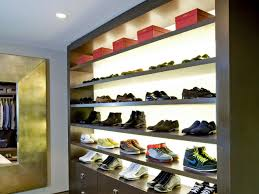 Uncategorized: Awesome Big Creative Shoe Storage With Wooden Material Under  Small Dowlight In White Ceiling