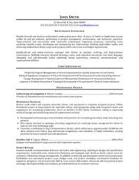 Resume template maintenance worker