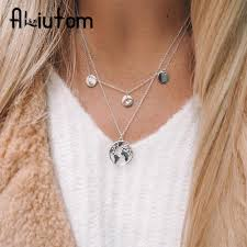 whole aliutom pendant necklace for women silver gold metal dainty globe earth layered necklace globetrotter collares silver bracelets silver chain from