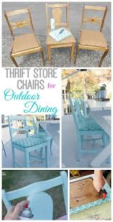 how to turn thrift upholstered chairs into seating for your outdoor dining table at the happy housie