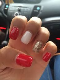 Red And White Nail Designs Red And White Glitter Nails Perfect For Summer Or 4th Of