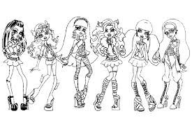 Small Picture Monster High coloring pages from some school monsters