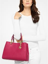 michael kors cynthia saffiano leather satchel cranberry