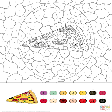 Small Picture Pizza Color by Number Free Printable Coloring Pages