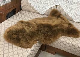 merino long wool real sheepskin rug dark brown color for home floor design
