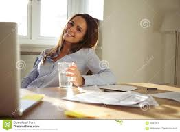 working for home office. Woman Working In Home Office Smiling At Camera For