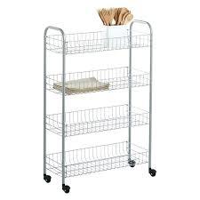 silver 4 tier slim rolling cart wire kitchen chrome