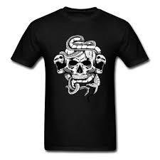 Skull Illustration 2018 Vintage Snake Tattoo Print Men T Shirt Cool Summer Black Short Sleeve Classic Chic Tee Shirts