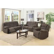 Ellis Contemporary Microfiber 3 Piece Living Room Set Brown S6021