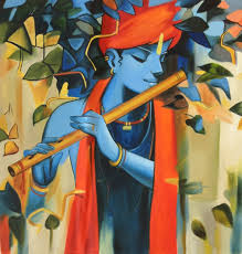 krishna indulging in melody of flute subject krishna painting paint material opaque oil colors base material canvas size 23 in