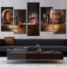 online cheap 5 panel wall art fruit grape red wine glass picture art for kitchen bar wall decor canvas prints wall paintings unframed by asenart dhgate  on wine bar wall art with online cheap 5 panel wall art fruit grape red wine glass picture art