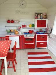 playhouse furniture ideas. cheerful red and white playhouse kitchen furniture ideas