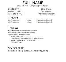 Beginner Acting Resume Sample Theatre Resume Example Resume Samples