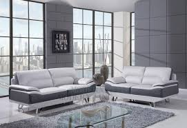 grey and white leather sofa with chrome base combined by rectangle