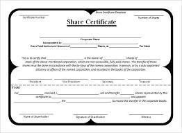 Shareholder Certificate Sample Shareholders Certificate Template