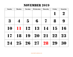 November November Calendar Free Download Printable November 2019 Calendar Large Font