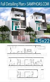 Narrow Home Plans Designs Sketchup 3 Story Narrow Home Plan 4 5x20m Architectural