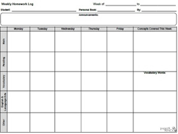 weekly assignment template weekly homework log general template by doodleteacher tpt