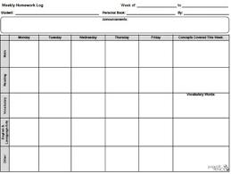Weekly Homework Weekly Homework Log General Template