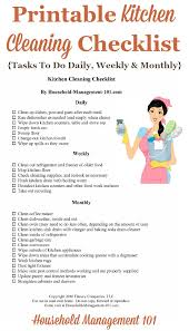 kitchen cleaning checklist daily weekly and monthly chores