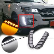 2016 Ford Explorer Led Fog Lights Amazon Com Auto Tech 2pcs Led Drl Front Bumper Signal