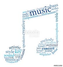 Tag Cloud Shaped As Music Note Composed Of Words Related To Music