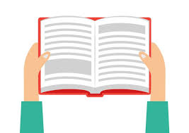 hands holding book flat vector