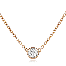 18ct rose gold solitaire diamond pendant