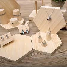 Wooden Jewellery Display Stands Impressive WOOD JEWELRY DISPLAY Wooden Earring Holder Stands Jewelry Organizer
