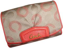 ... Coach Womens Ashley Signature Dotted Op Art Compact Clutch W poppy logo  large red wallets ...
