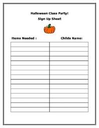 Party Sign Up Sheet Template Halloween Class Party Sign Up Sheet Halloween Class Party