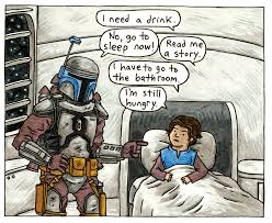 the cover for goodnight darth vader ing out on july 22 2018 jango having a little difficulty getting young boba to go to bed