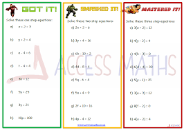 Solving Equations Worksheets - Access Maths