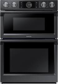 samsung 30 microwave combination wall oven with flex duo fingerprint resistant black stainless steel