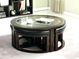 coffee round table with stools underneath chairs under