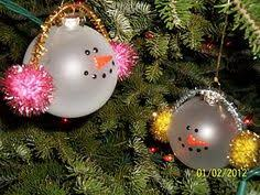 snowman ornaments BUT do it yourself / CRAFT WITH KIDS with generic white  plastic christmas ball