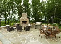 backyard stone fireplace michigan landscaping lake street design studio petoskey mi