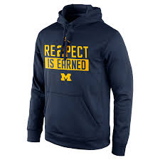 Men's Michigan Wolverines Hoodie Pullover Navy Jordan Re2pect Is Earned Brand