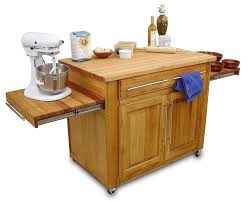 Natural Wooden Kitchen Island On Wheels With Drop Leaf And Storage Cabinet