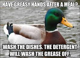 have greasy hands after a meal wash