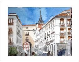 toledo street madrid spain watercolour on paper