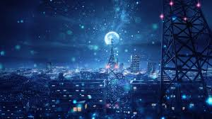 Wallpaper 4k Blue Night Big Moon Anime ...