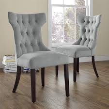 dorel living clairborne gray microfiber tufted dining chairs set of 2
