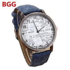online buy whole watches news from watches news stylish unisex quartz watches men sports watches denim fabric women dress watch news paper wristwatch design