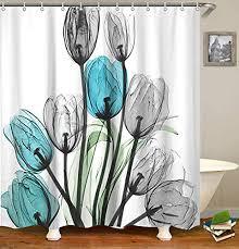 livilan shower curtain set with 12 hooks fl bath curtain thick fabric bathroom curtains home decorations for bathroom white blue grey tulip flower